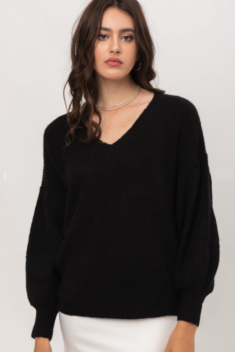 Ribbed Knit Balloon Sleeve Sweater