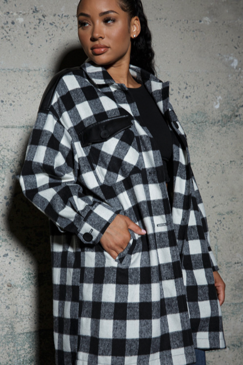 Plaid Shacket with Faux Leather Detail