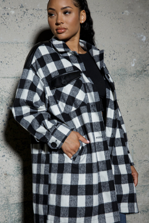 Plaid Shacket with Faux Leather Detail - honey