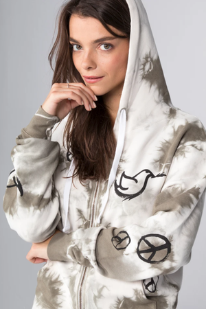 All Over Peace Signs Zip Up Hoodie - honey