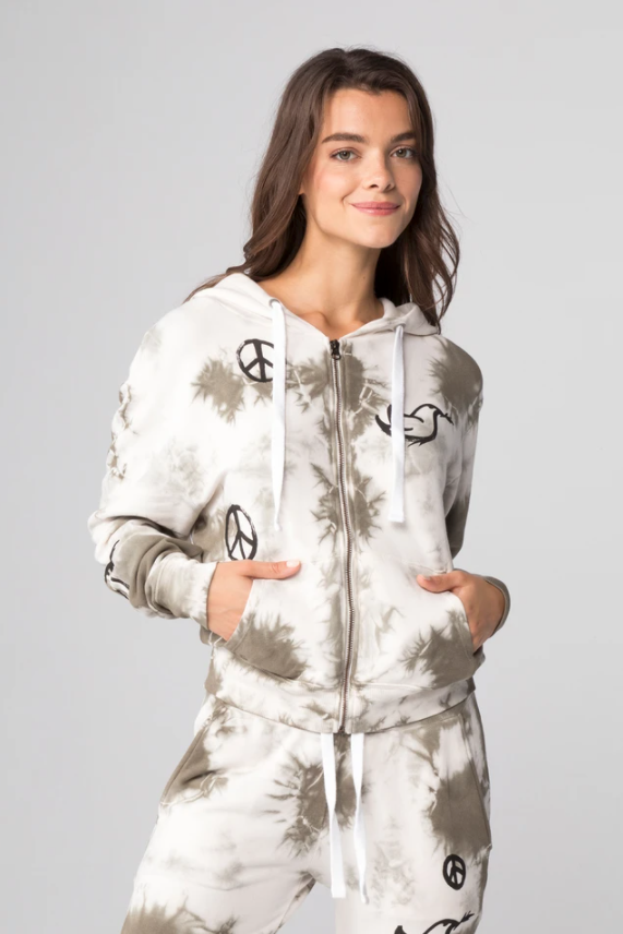 All Over Peace Signs Zip Up Hoodie