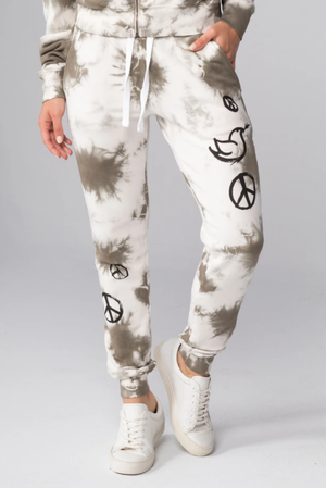 All Over Peace Signs Flat Pocket Sweatpants