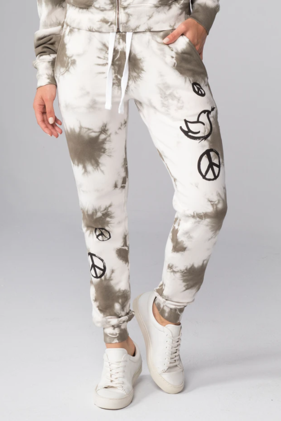 All Over Peace Signs Flat Pocket Sweatpants - honey