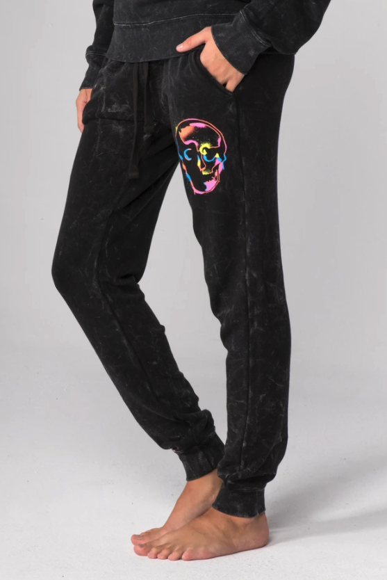 Skull Spray Flat Pocket Sweatpants - honey