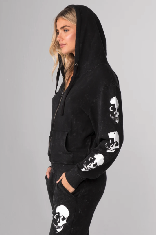 Skull Shadow Zip Up Hoodie