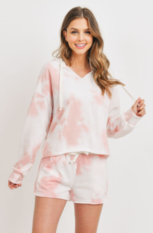 Cropped Tie Dye Pullover Hoodie - honey