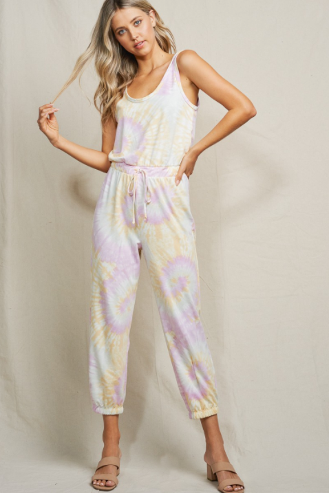 Lou Sleeveless Tie Dye Lounge Jumpsuit - honey