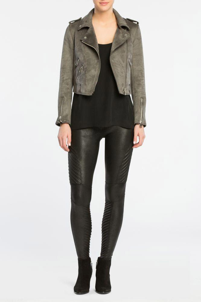 Faux Leather Moto Leggings - honey