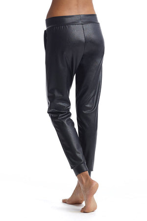 Faux Leather Jogger - honey