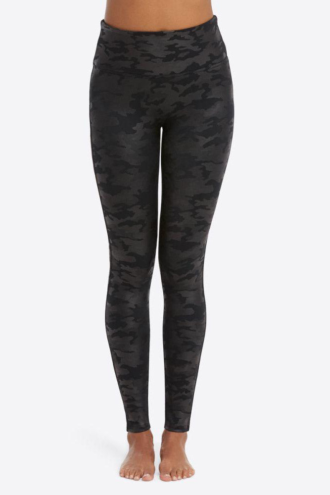 Faux Leather Camo Leggings - honey