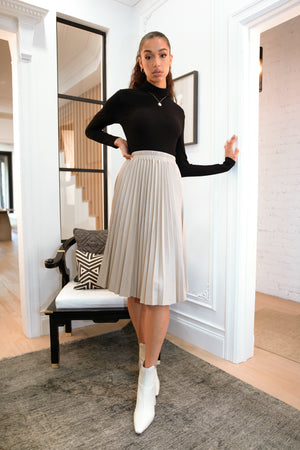 Evie Pleated Vegan Leather Midi Skirt