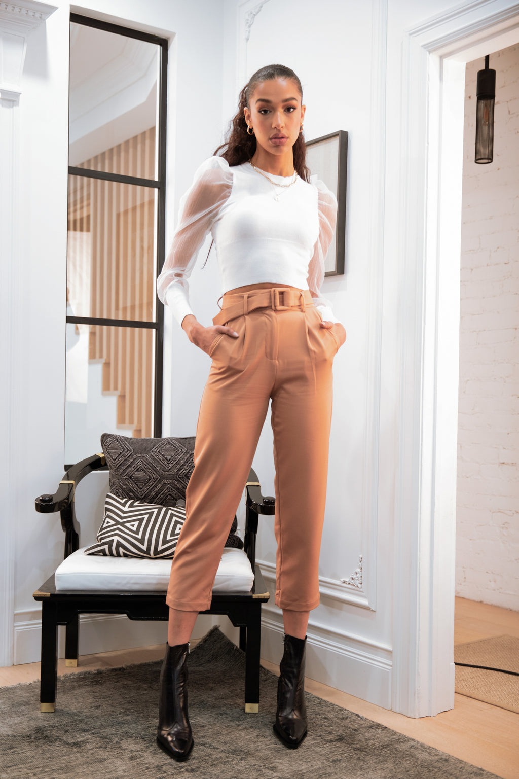 Estelle Belted Straight Leg Pants