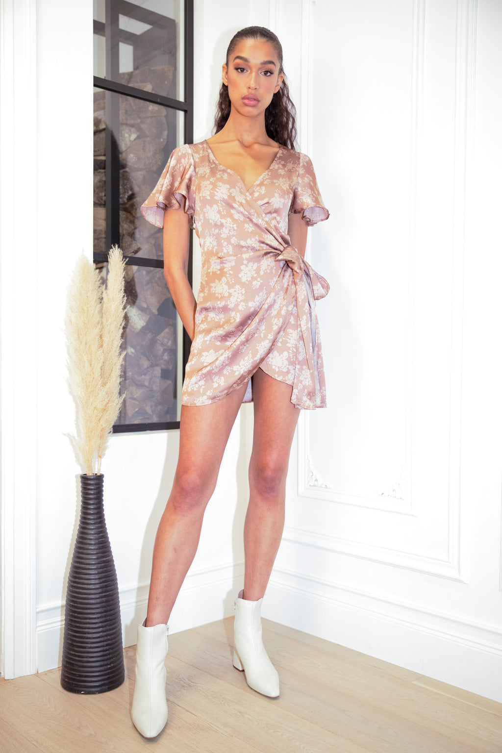 Mariah Satin Wrap Mini Dress
