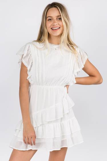 Kinsley Embroidered Ruffle Mini Dress - honey