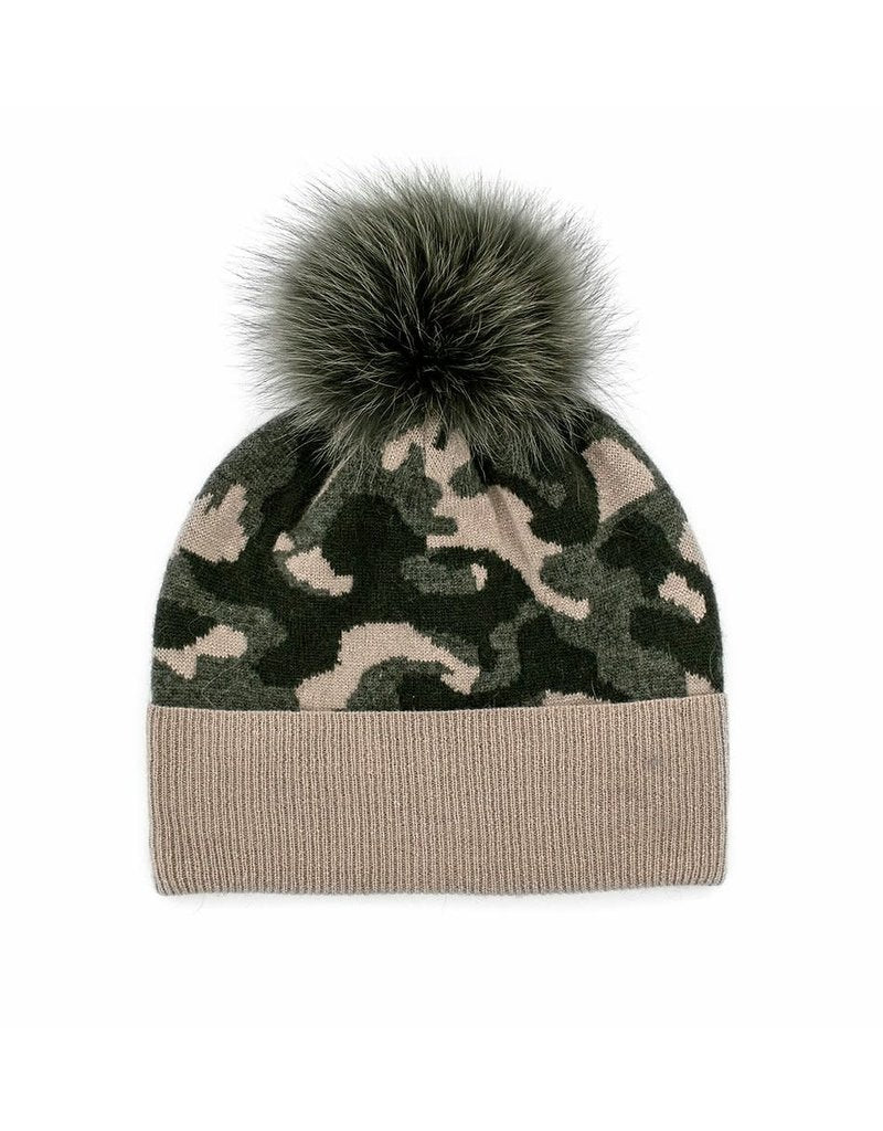 Camo Knit Hat with Fur Pom Pom - honey