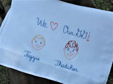 Load image into Gallery viewer, Hand Embroidered Family Faces - Kitchen Towel