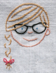 Hand Embroidered Family Faces - Kitchen Towel