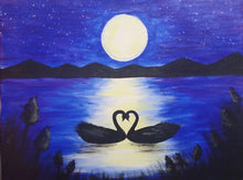 Load image into Gallery viewer, Swans At Moonlight - Paint Kit