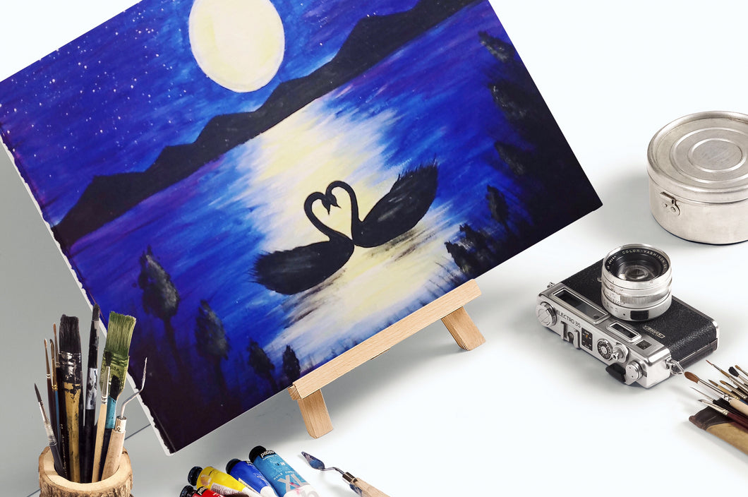 Swans At Moonlight - Paint Kit
