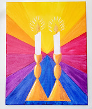 Load image into Gallery viewer, Candelabras - Shabbat Candles - Paint Kit