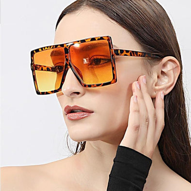 Women Sexy Leopard Big Flat Frame Sunglasses