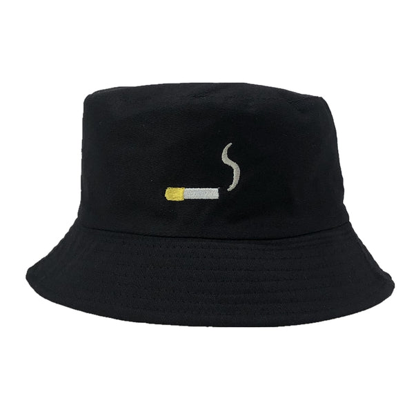 Cigarette Embroidery Bucket Hat Men Women Hip Hop Fishing Cap Adult Panama Bob Hat Summer Lovers Flat Hat Cotton NO CHILL