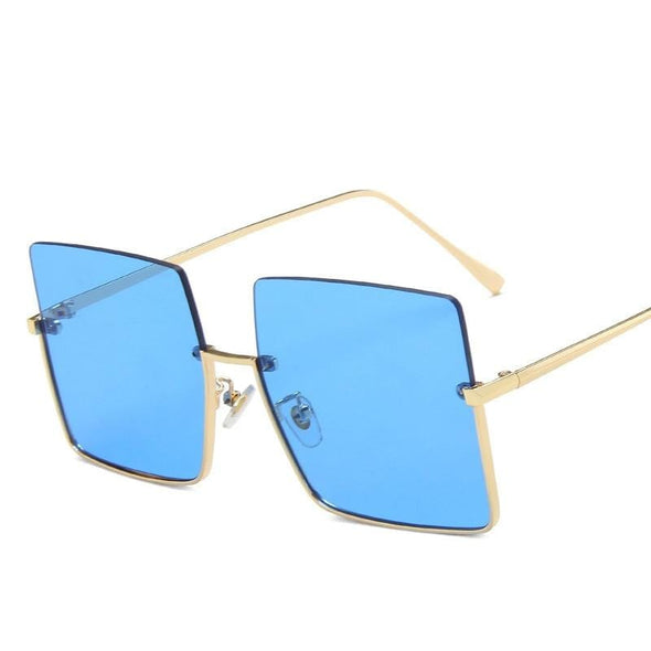 Rimless Sunglasses Women Retro Oversized Square Sun Glasses Half Metal Frame