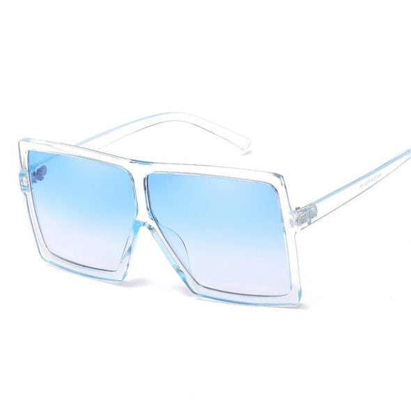 2021 Oversized Square Sunglasses Women New Luxury Brand Trendy Flat Top Red Blue Clear Lens Vintage Men Gradient Shades UV400