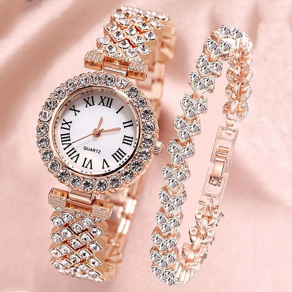 1pc Rhinestone Decor Round Pointer Watch & 1pc Bracelet