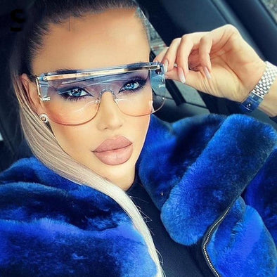 2021 New Luxury Brand Rimless Alloy Sunglasses For Women Vintage One Piece Alloy Oversized Blue Pink Sun Glasses Men Flat Shades
