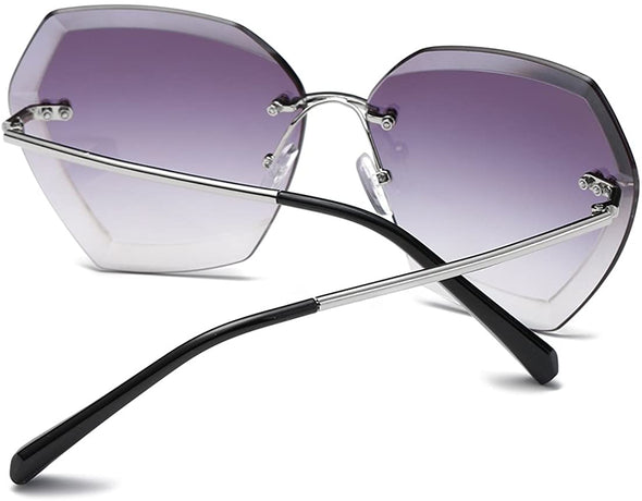 Oversized Rimless  Sun Glasses