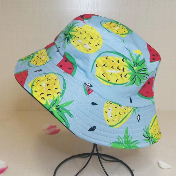 Banana Bucket Hat for Women Fresh Fruits Fisherman Hats Pineapple Watermelon Cotton Bucket Cap Bob Gorros Beach Travel Caps 2020