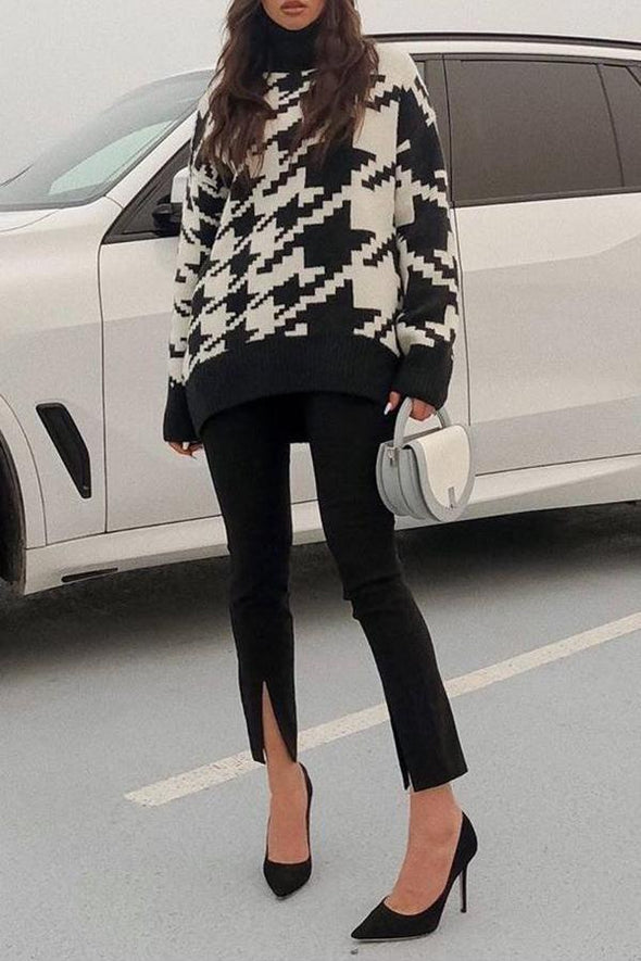 Houndstooth High Neck Midi Sweater