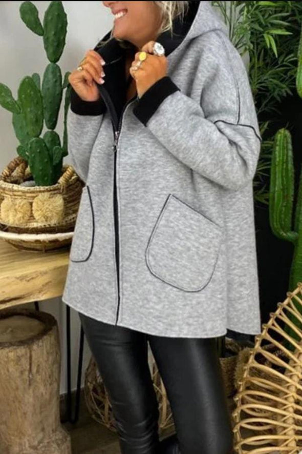 Sporty Solid Color Hooded Coat