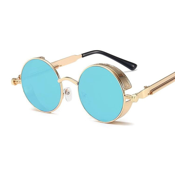 Classic Gothic Steampunk Style Round Sunglasses Men Women Brand Designer Retro Round Metal Frame Colorful Lens Sun Glasses
