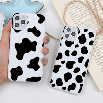 Cow Milk Black White  Soft Phone Case for iPhone