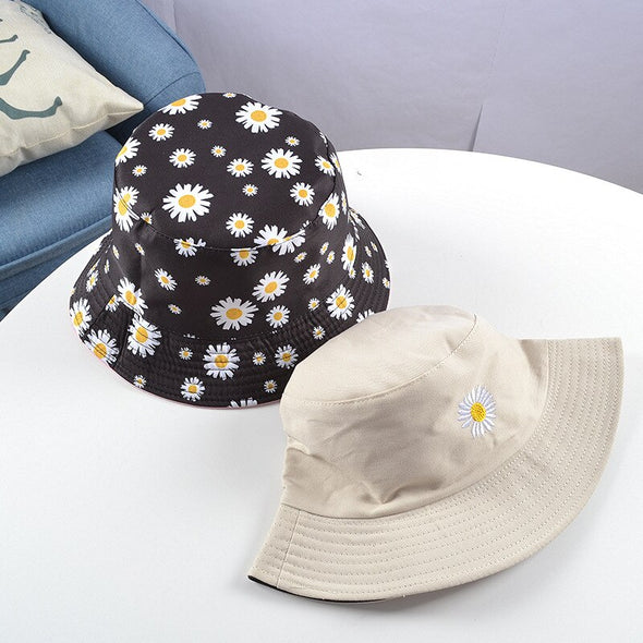Daisies Embroidered Buckets Hat Cow Women Transparent Lace Flower Beach Panama Hats Top Snapback Fashion Daisy Sun Cap Summer