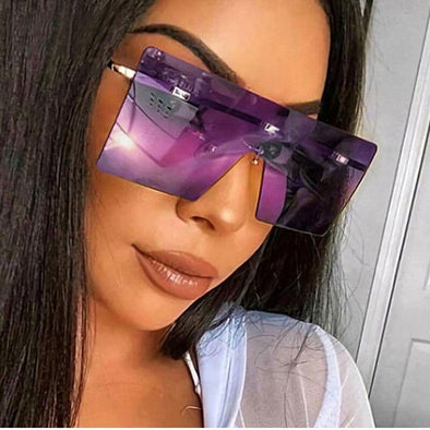 Vintage Oversized Women Sunglasses Luxury Brand Rimless Big Ladies Sun Glasses Fashion Gradient Big Shades Eyewear UV400