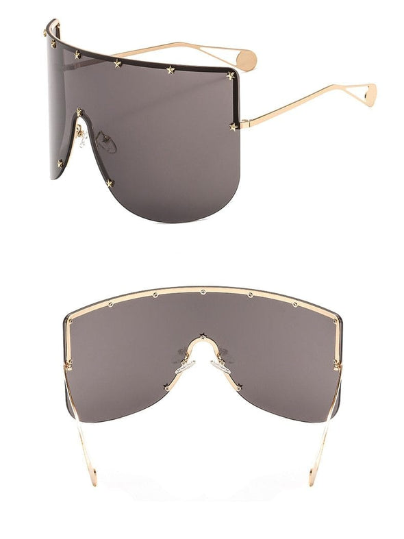 2020 Star Oversize Square Women's Sunglasses Men Brand Designer One Piece Mask Sun Glasses For Female Shield Shades Goggle UV400
