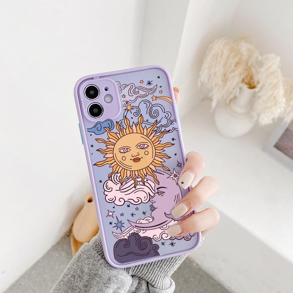 Sun Moon Face Shockproof Phone Case For iPhone