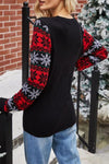 Santa Claus Print Round Neck Sweater