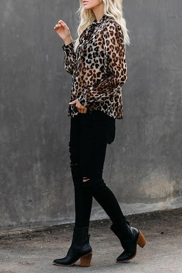 Lantern Sleeve Leopard Print Knotted Blouse