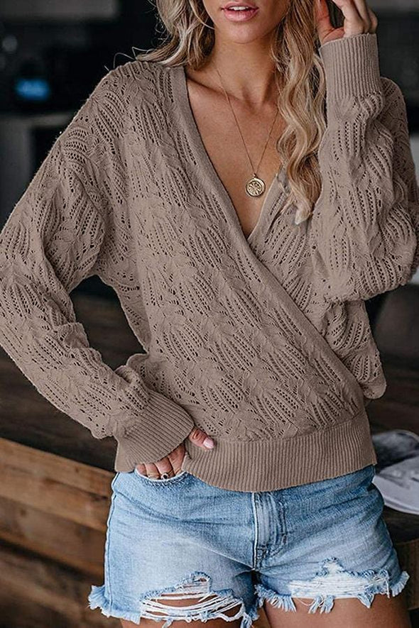 Solid Color Long Sleeve V Neck Sweater