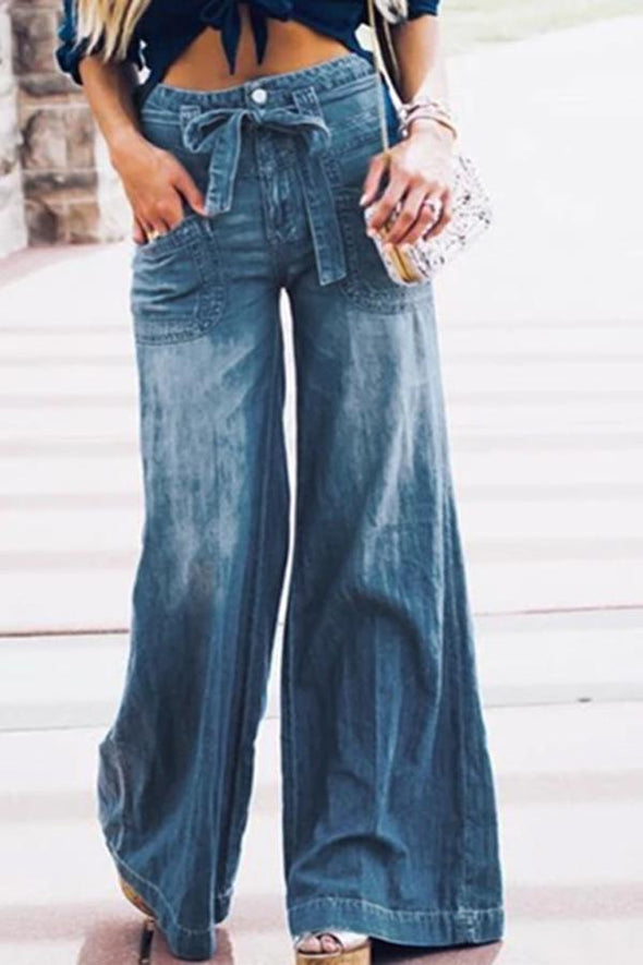 Bleached Wide Leg Knotted Jeans