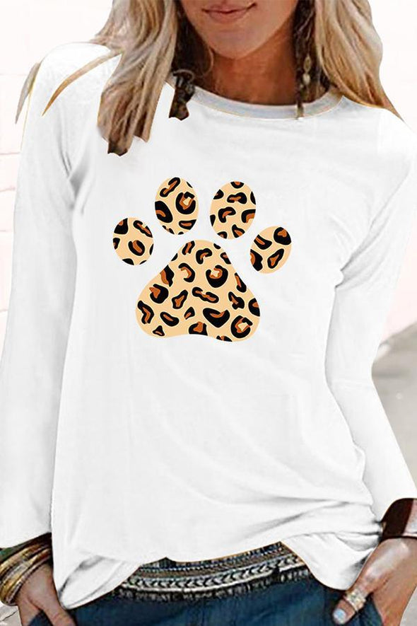 Leopard Footprint Round Collar Shirt