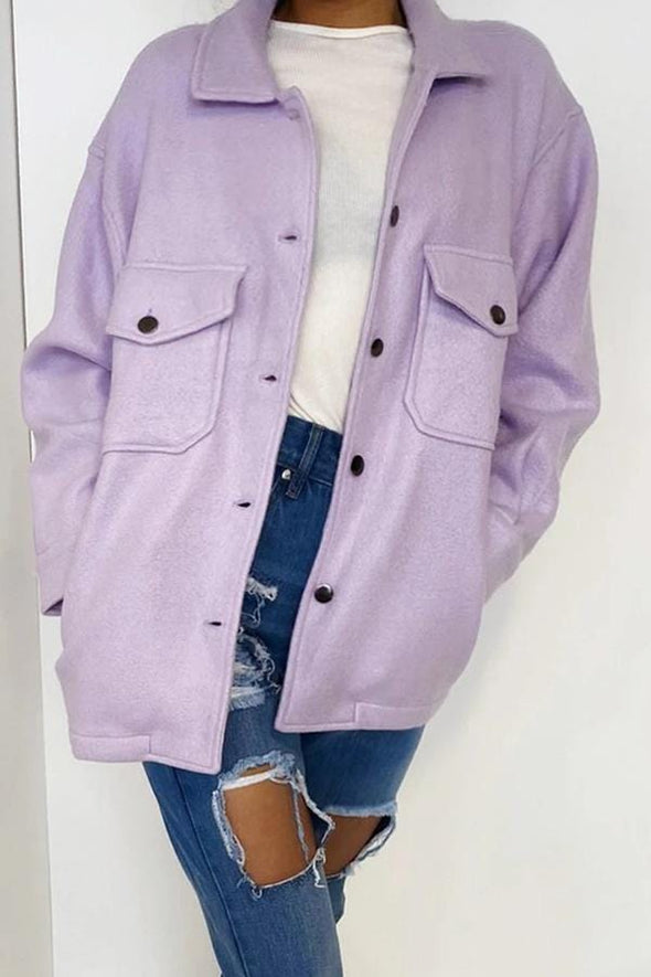 Shirt Collar Single Breasted Coat