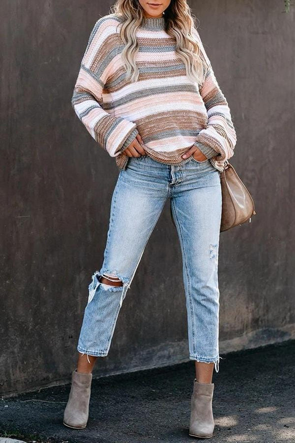 Stripe Half Turtleneck Sweater