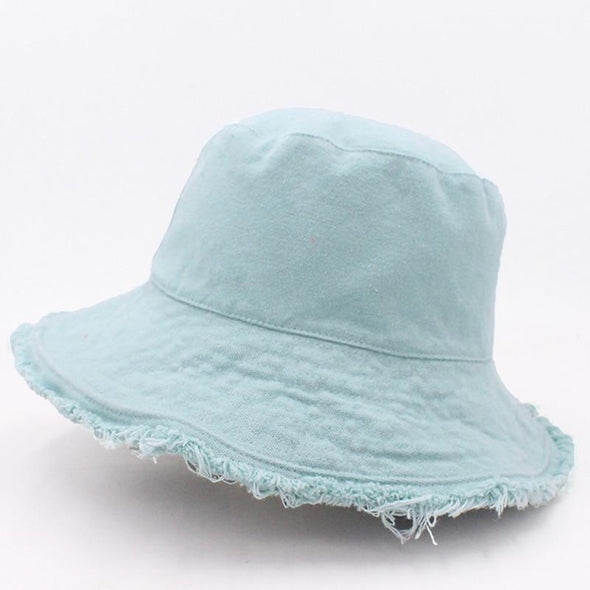 Solid color fringed fisherman's cap, soft aluminum wire shape, water wash bucket hat, women's outing basin hat