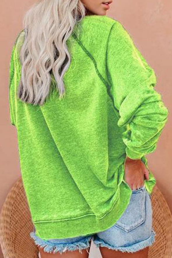 Long Sleeve Grinch Round Neck Sweatshirt