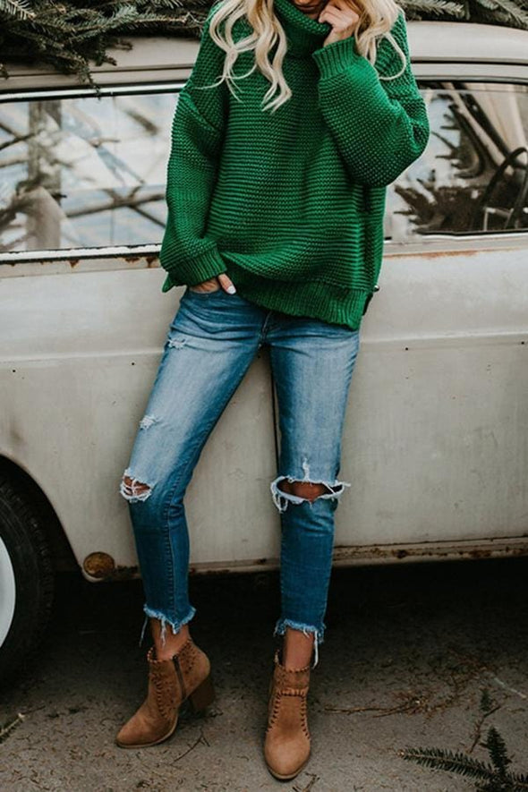 Solid Color Pile Collar Sweater